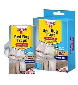 3 Pack of Humane Poison Free ZERO in Bed Bug Killer Traps 60 Days Protection